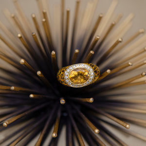Hidalgo Enamel Citrine with Diamond Halo Ring